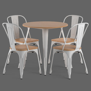 3D tolix chairs table model