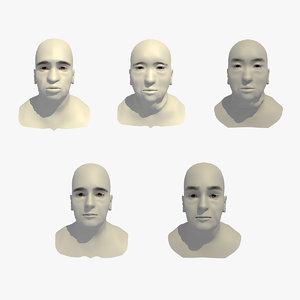 3D model realistic rigged head 70