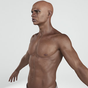 rigged african man body 3D model