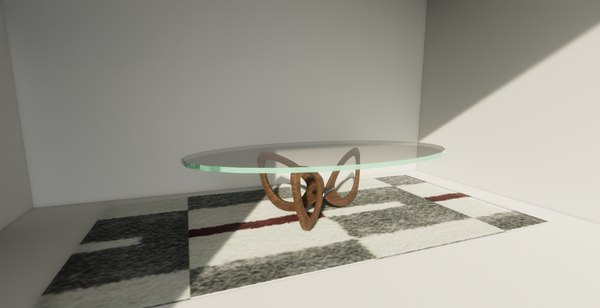 3D coffee table glass