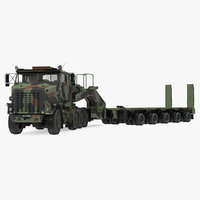 Oshkosh M1070 Tank Transporter Tractor with M1000 Semi-Trailer Camo Clean Rigged