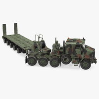 Oshkosh M1070 Truck Tractor with M1000 HET Semi-Trailer Camo Dirty Rigged