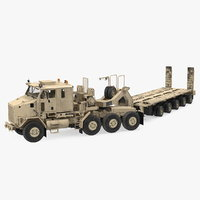 Oshkosh M1070 Truck Tractor with M1000 HET Semi-Trailer Desert Dirty Rigged