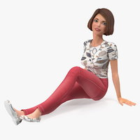 cartoon young girl casual 3D model