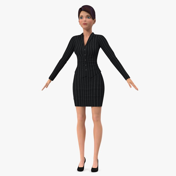 cartoon young girl office 3D model