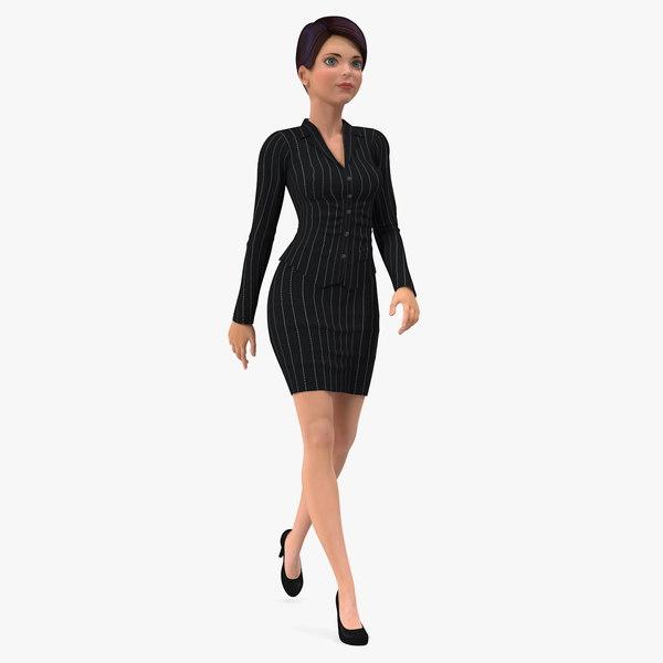 3D model cartoon young girl office