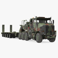 Dirty Camouflage Oshkosh M1070 Tank Transporter Tractor with M1000 Semi-Trailer