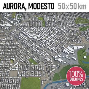3D city aurora modesto surrounding model