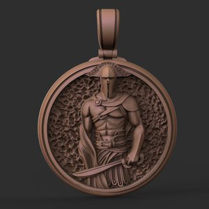 3D jewelry pendant spartan warrior