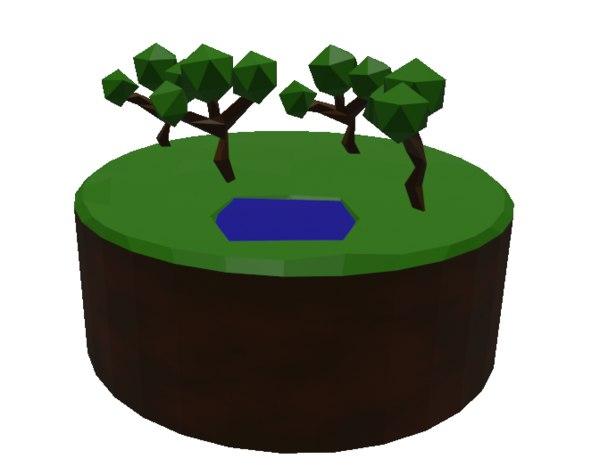 3D pond trees model
