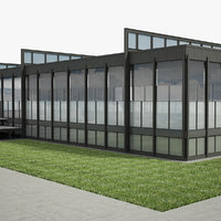 3D modern glass office building