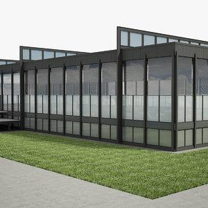 3D modern glass office building