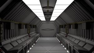 3D model sci fi spaceship corridor