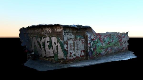3D abandoned corner store graffiti model
