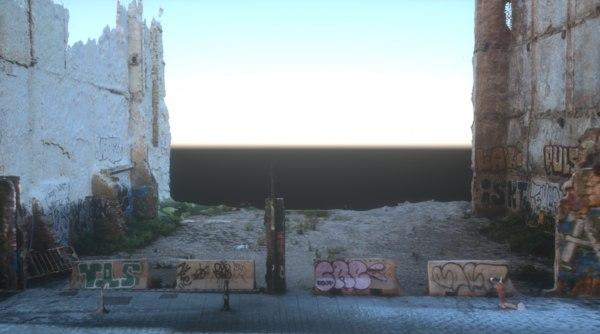 abandoned building lot walls 3D model