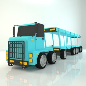 3D carrier truck cartoon