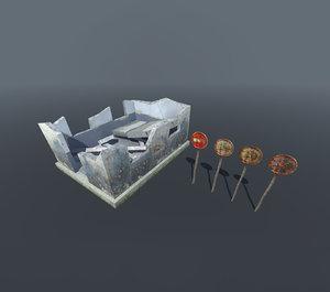 small post set 3D