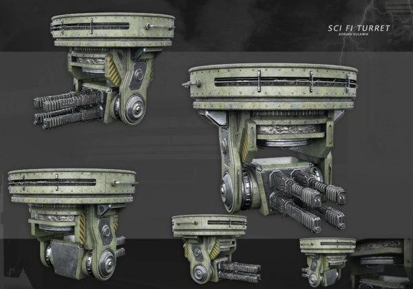 3D sci-fi turret gun model
