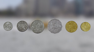australian currency coins 3D model