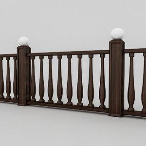3D wooden railing
