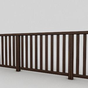 3D wooden railing model