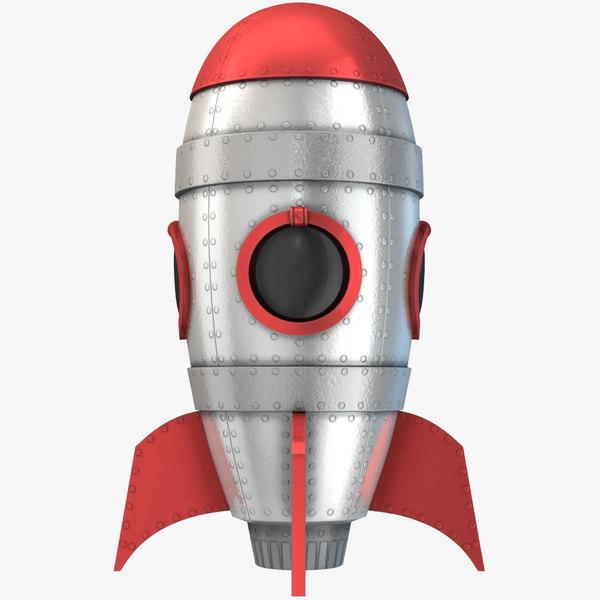 3D model retro space rocket cartoon
