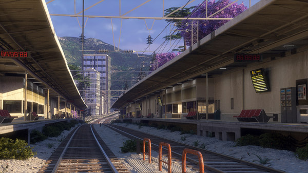 railway station city blocks 3D model