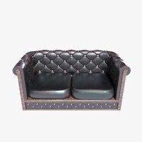 seat leather couch sofa 3D