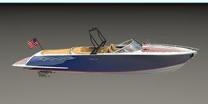 3D open speedboat