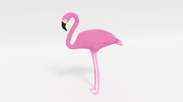 3D model cartoon flamingo