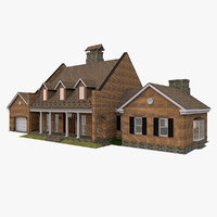 3D american suburban house model