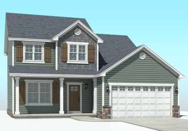 3D model classic american house