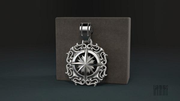 jewelry star pendant wind rose model