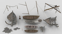 Pack of Medieval Wooden Boats