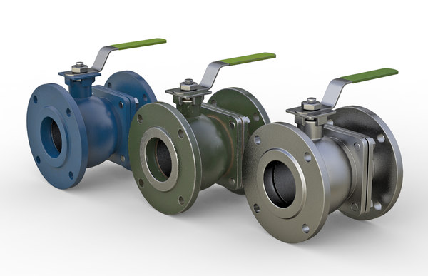 flanged ball valve 3D model
