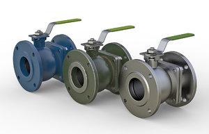 flanged ball valve 3D model