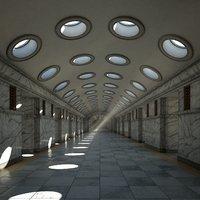 3D model corridor hallway