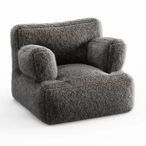 wool iced faux fur 3D model