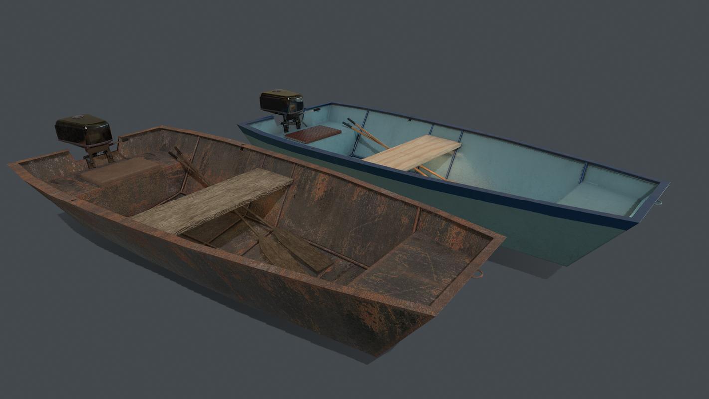 3D pbr metal boat