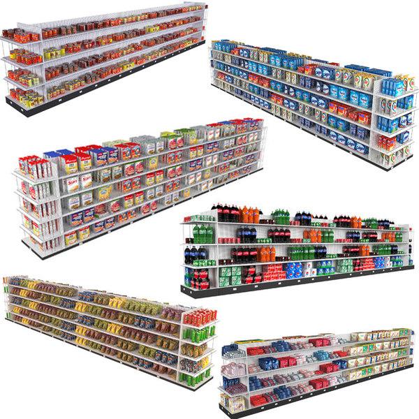 supermarket shelving 3D model