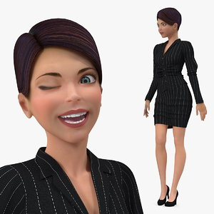 cartoon young girl office 3D model