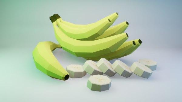 banana fruit nature 3D