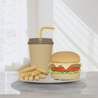 Meal (burger, potato, mug)
