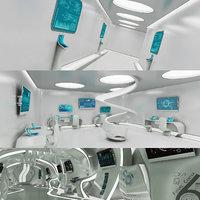 sci-fi futuristic corridor room model