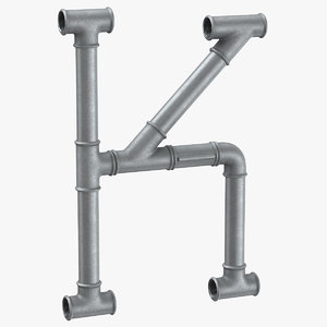 galvanized steel pipe letter 3D