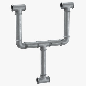 3D galvanized steel pipe letter model