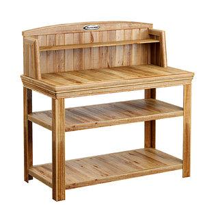 cedar potting bench 3D model