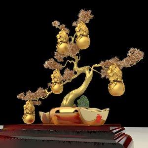 3D chinese gourd yuanbao