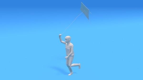 3D model kid running kite