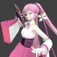 kimono girl 3D model